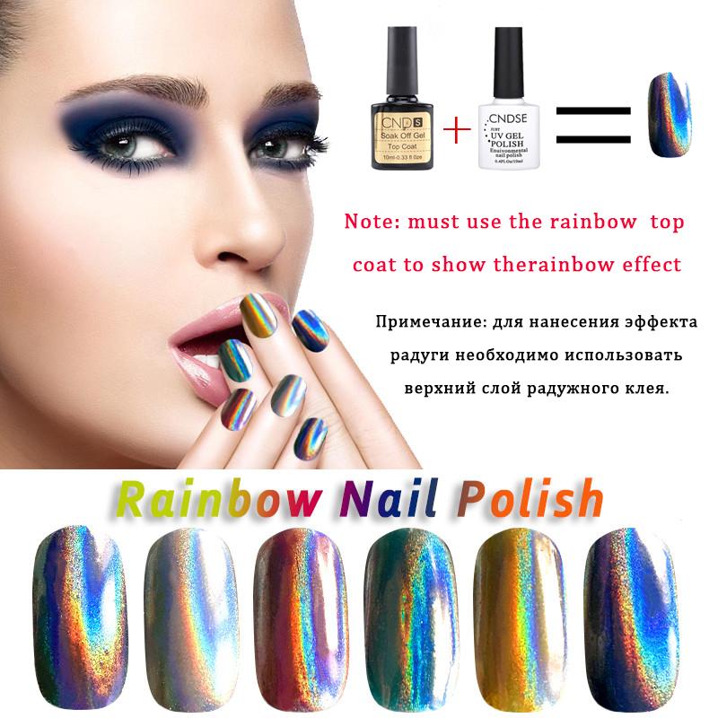 10ML Gel Nail Polish Rainbow Series UV Lamp Soak Off Glitter Gel Polish 12 Colors DIY Beauty Art Nail Glue(China (Mainland))