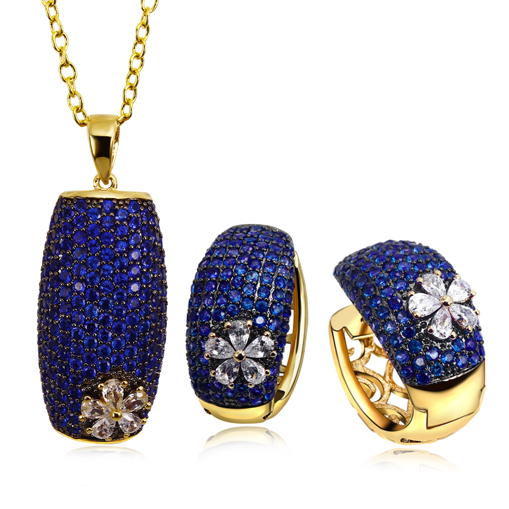 Jewelry sets women gold plated blue Cubic zircon stone ( necklace & earring ) Free shipment