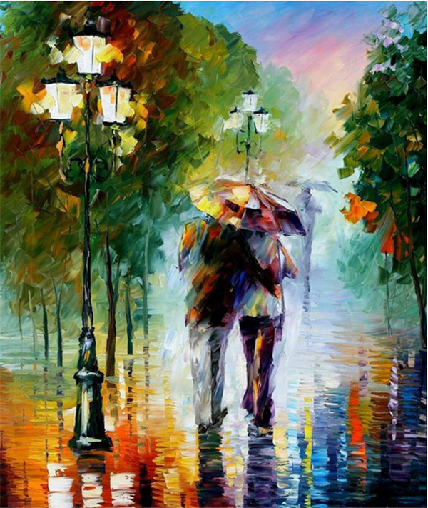 Hot Sale Frameless Pictures Painting By Numbers DIY Digital Oil Painting On Canvas Walking In The Rain Home Decoration 40x50cm(China (Mainland))