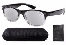 Spring Hinges 80 s Wayfarer Reading Glasses W Case Grey Lens Sun Readers R011 0 5
