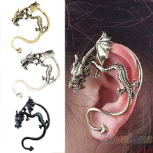 Retro Vintage Black Silver Bronze Punk Temptation Metal Dragon Bite Ear Cuff Clip Wrap Earring Earrings Wholesale Sale 02G3 3961(China (Mainland))