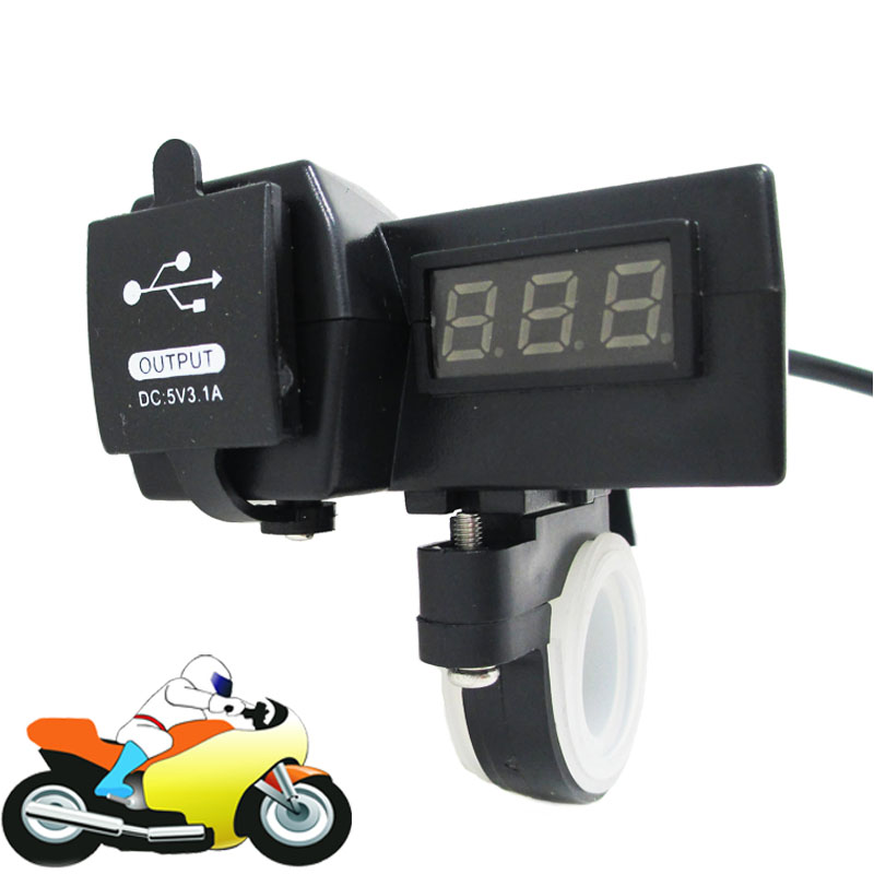 12V 24V Motorcycle Car ATV Quad Dual USB Charger with Voltmeter Waterproof Phone Handlebar Charger Power Adapter <br><br>Aliexpress