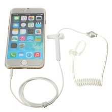 2016 Universal 3.5mm Monaural Stereo Anti Radiation Air Spring Conduit Earhook Earphones With Volume Control For iPhone 6(China (Mainland))