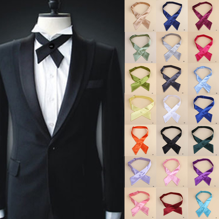 New Design Fashion Elegant Pure Color Unisex Cross Bow Ties For Men Drop Shipping Tie 024