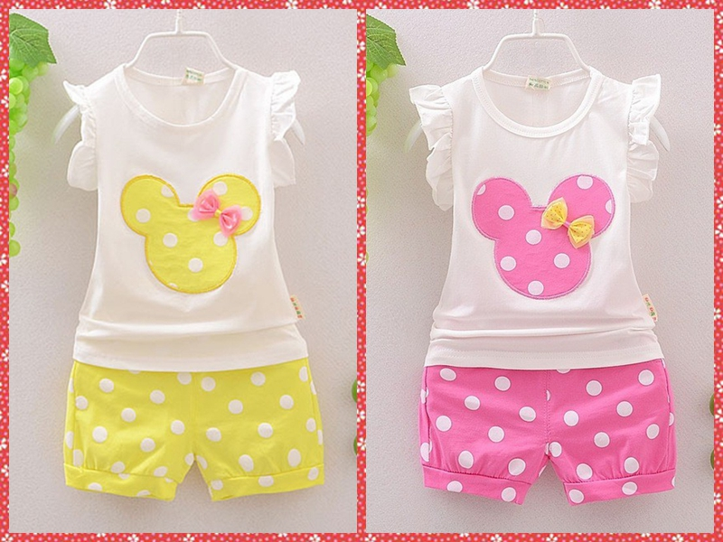 Retail Baby Girls Clothing Sets Cute Cartoon Cotton Sleeveless T-shirt + Shorts 2PCS Summer Style Brand Kids Clothes Suits(China (Mainland))