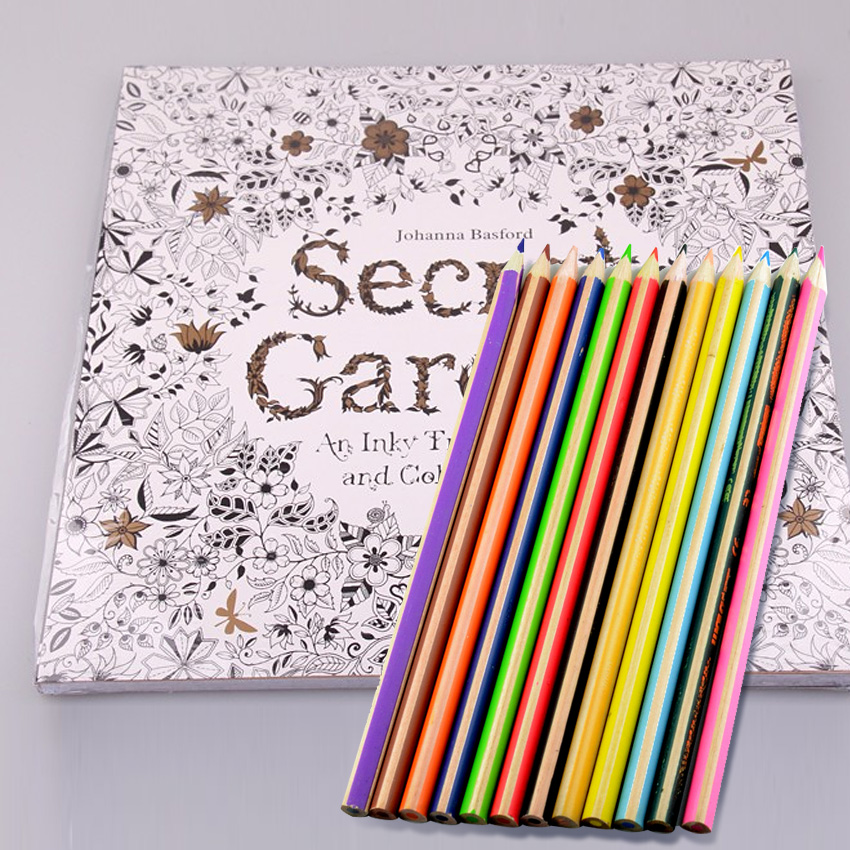 96 Pages Secret Garden + 12 Colors Pencils Coloring Books For Children Adults Relieve Stress Drawing Colouring Books For Kids(China (Mainland))