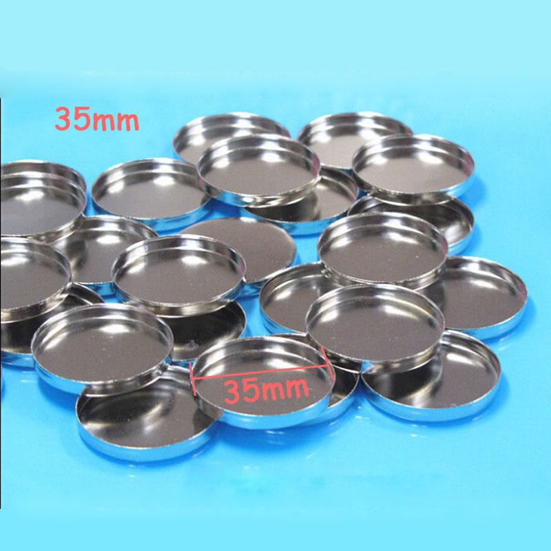 35mm round aluminum pressed pan for eyeshadow or blush case 100pcs/lot(China (Mainland))