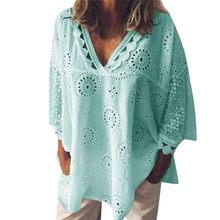 Летняя женская блузка, открытые рубашки для девочек, хлопковые льняные рубашки с коротким рукавом, кружевная Лоскутная рубашка, женская блу...(China)