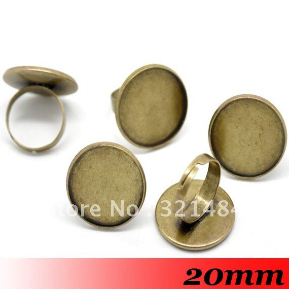 Free ship! Antique bronze 200PCS 20mm Round Adjustable Ring Base Blanks Trays Bezel Cameo Cabochon Setting Findings<br><br>Aliexpress