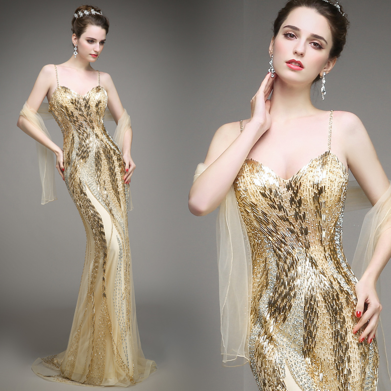 Haute couture mermaid satin gold evening dress sweetheart for Haute couture dress price