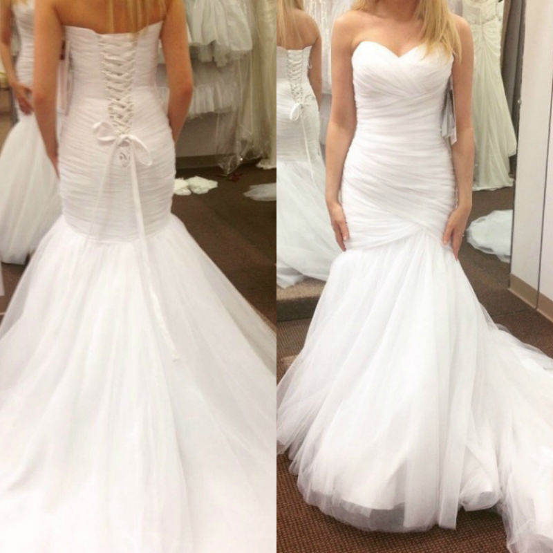 Cheap simple sweetheart ruched mermaid tulle wedding for Wedding dress free shipping