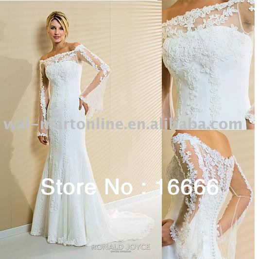 2013 latest bridal wedding gown boat neck long sleeve lace for Boat neck long sleeve wedding dress