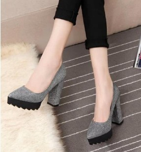 hot 2015 women thick heels platform high heeled pumps round toe red bottoms elegant wedding party shoes woman black gray