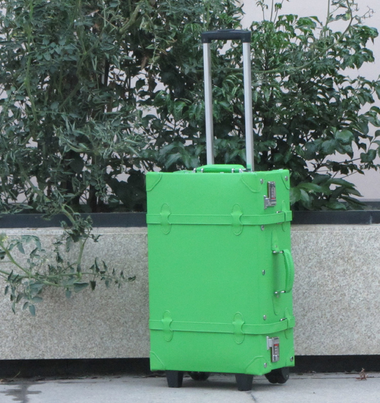Candy green vintage trolley luggage small fresh luggage suitcases universal wheels travel bag female(China (Mainland))