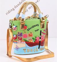 spring and summer women's handbag candy color leather bag handbags messenger bucket bagsThailand braccialini