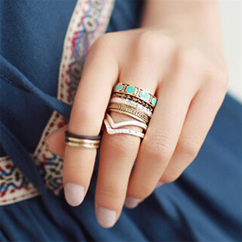 Punk Vintage Gold Finger Knuckle midi rings Crystal Ring Set For Women Hollow Out Rings aneis conjunto anillos mujer aros(China (Mainland))