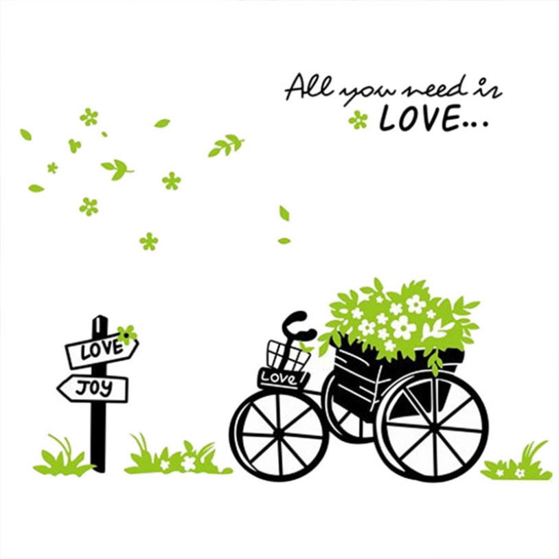 All you need is love quotes bike 3d wall stickers decals Living Decoration for kids rooms adesivos de parede(China (Mainland))