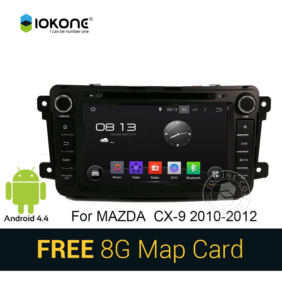 IOKONE Android 4.4 Car CD DVD Stereo Player For Mazda CX 9 2010 2011 2012 with GPS Vedio bluetooth WIFI 3G CANBUS FREE SD card(China (Mainland))