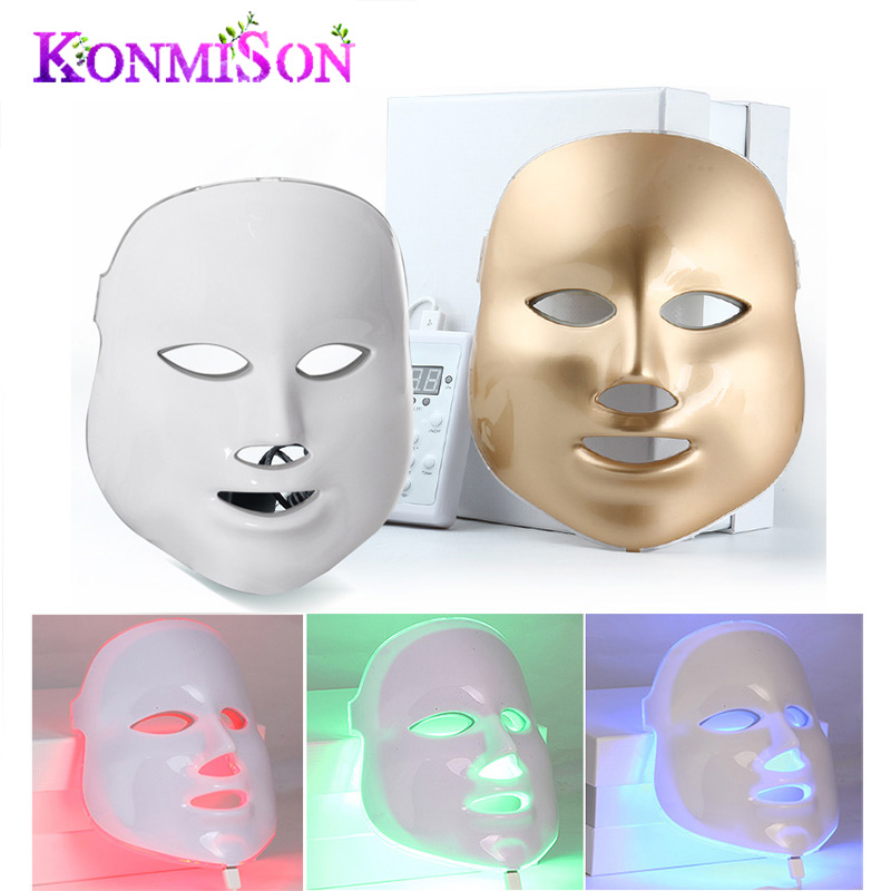 White or Gold 3/7 Colors PDT Photon LED Facial Mask Skin Rejuvenation Wrinkle Removal Electric Anti-Aging LED Mask For Beauty(China (Mainland))