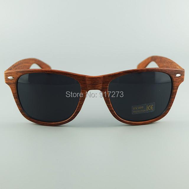 Good Quality Plastic Frame Printing Woodgrain With Metal Hinge Special Wayfarer Style No Brand Sunglasses UV400 Protective Lens(China (Mainland))