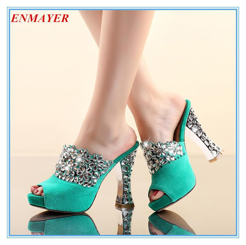 ENMAYER Slides Solid Rhinestone Party Sandals shoes women Cow Muscle Suede shoes Square heel High Platform Sandals Green, black<br><br>Aliexpress
