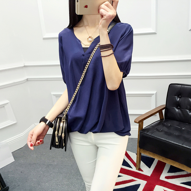 100% silk female thin solid colored short sleeved women shirts crepe de chin knitted blouses Sexy shirts-b190-1 - Silk life House store