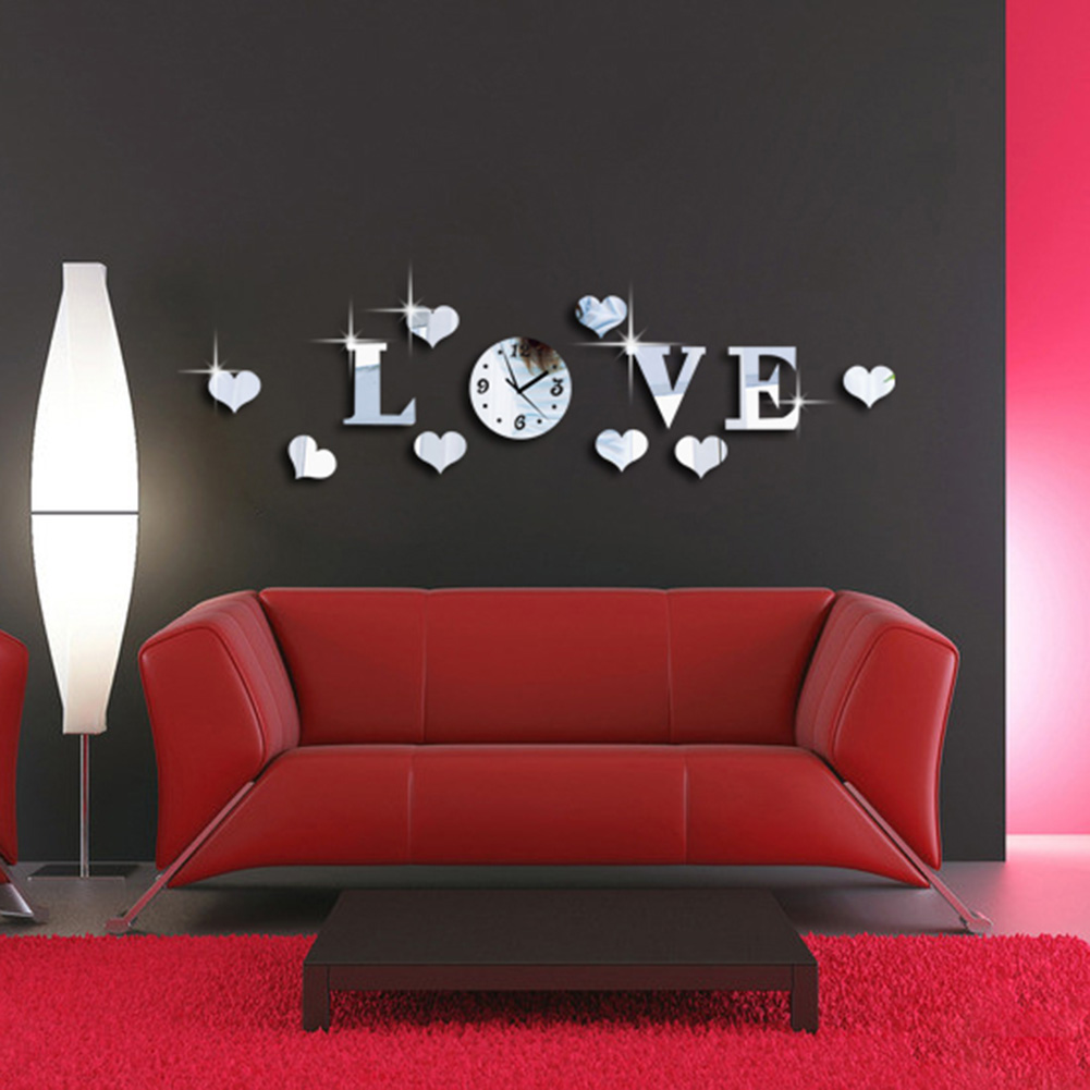 New Creative Silver Color Acrylic Mirror Effect LOVE Letter Decal Wall Sticker Clock Mechanism Home Decoration Adesivo De Parede(China (Mainland))