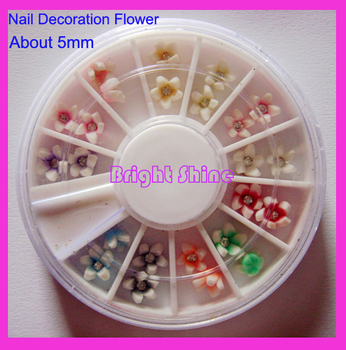 4pcs/Lot Mixed color Nail Art Flower with rhinestone Decoration polymer clay flower for decroating Nail Polymer Clay Slice