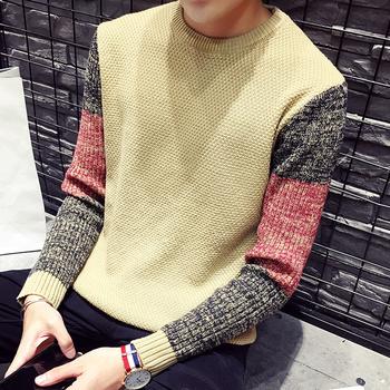 2016 autumn men's fashion sweater patchwork o-neck korea sweater men slim knitting sweater free shipping