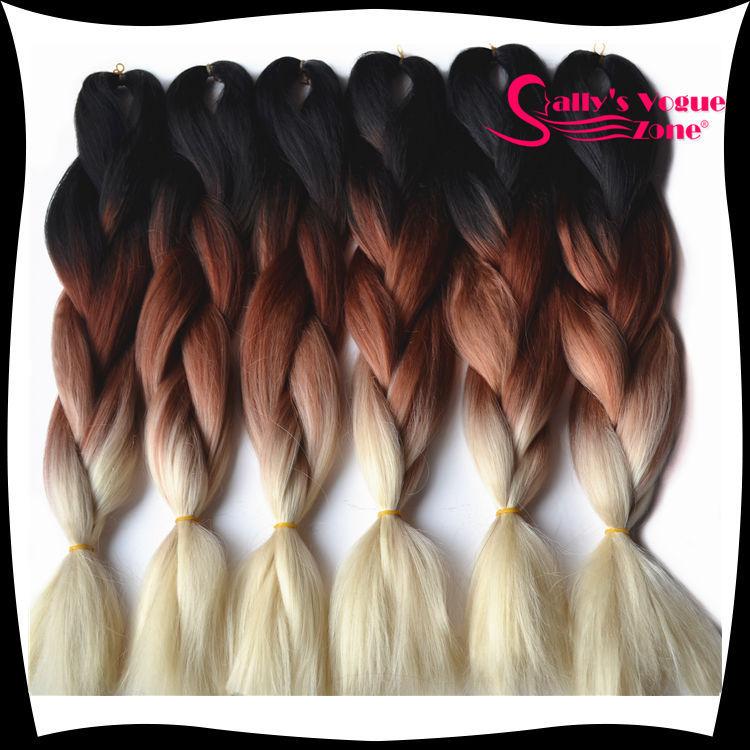 Ombre Kanekalon Braiding Hair Synthetic Jumbo Braiding Hair Three Tone Black Brown Blonde Braids 24inch 100g/pc Hair Extensions(China (Mainland))