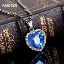 Sapphire Jewelry Titanic Heart Ocean Necklace Platinum Plated Crystal Hearts Necklaces Pendants For Women Movie Haiyangzhixin(China (Mainland))