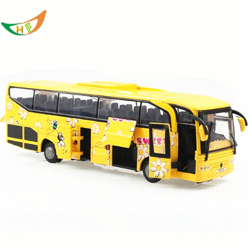 Toy model metal car big bus school bus 5 acoustooptical open the door kids toys Christmas gift(China (Mainland))