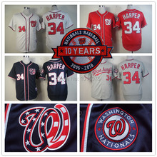 Bryce Harper Jersey 10th patch Authentic Washington Nationals Cool Base Jerseys White Blue Grey Red(China (Mainland))