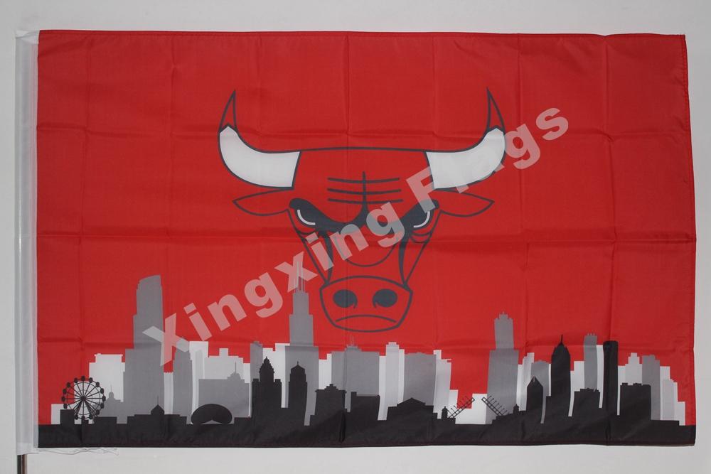 Chicago Bulls Chicago City Skyline Flag 3ft X 5ft Polyester NBA1 Chicago Bulls Banner Flying Size No.4 144* 96cm Custom F(China (Mainland))