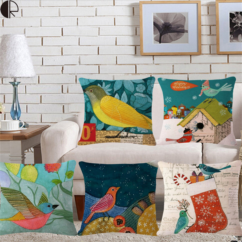 Bird Animals Home Decorative Seat Back Cushion Throw Pillow No Filling Cushion Funda Cojin PillowCase Car Decor Amofada HH890(China (Mainland))