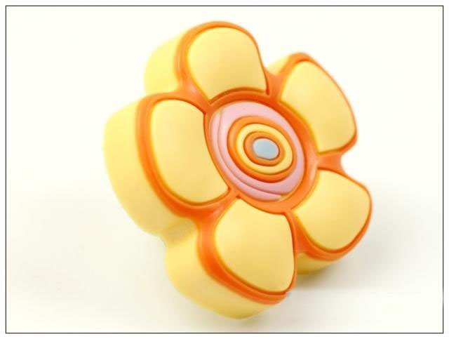 10PCS/LOT Yellow flower Child 's Room Drawer Cabinets Green Soft Furniture Handle(China (Mainland))