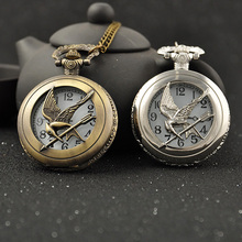 New Fashion Antique Bronze Steampunk Round Pocket Watch Necklace Relogio De Bolso Bird Quartz Analog