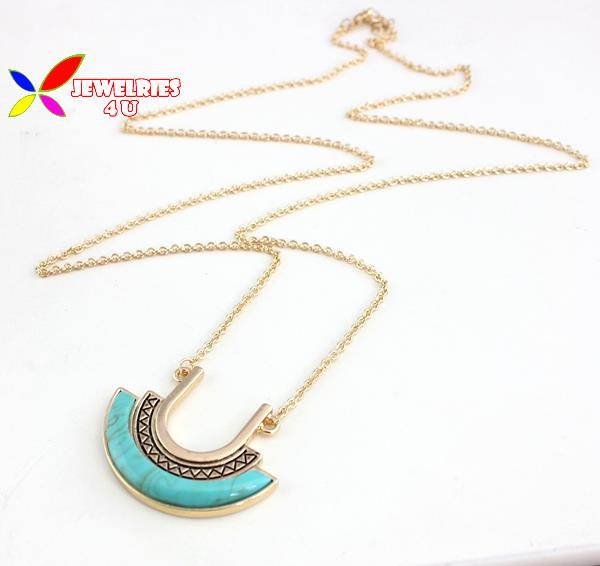 2015 women's christmas gifts fashion designer ARC green turquoise U shape long costume sweater chain pendant necklace colliers(China (Mainland))