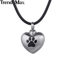 Trendsmax Dog Paw Pet Matting Heart Love Cremation Memorial Urn Keepsake Womens 316L Stainless Steel Pendant Necklace HP419(Hong Kong)