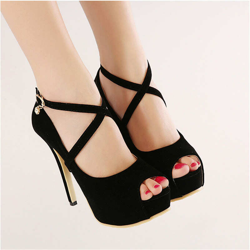 2016 New Summer Gladiator Sandals High Heels Shoes Women Solid Lace Up Thin Heeled Pumps Sexy Women   Fish mouth shoes X6-10#<br><br>Aliexpress