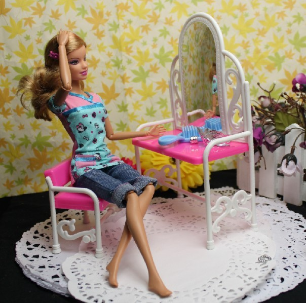 Girl Favorite Birthday Gift Furniture For Barbie Dolls Kids Play Toys Fancy Classical Dresser Set Doll Accessory Dressing table(China (Mainland))