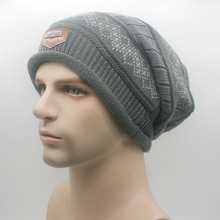 Hat Winter Men Knitting Wool Beannies Outdoor Sport Striped Skullies Khaki Black Navy Blue Warm Woolen Caps