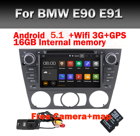 HD 1024*600 Quad Core car radio for BMW E90 Android 5.1 DVD GPS Wifi 3G Bluetooth Radio USB SD Canbus Free Camera+8GB map(China (Mainland))