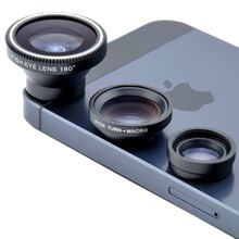 Magnetic 3in1 Fisheye Lens+ Wide Angle + Micro Detachable Lens photo Kit Set for iPhone 4 4S 5 I9300 S4 Note2 Free Shipping