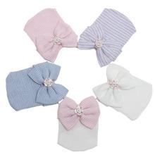 Krankenhaus Neugeborenen Baumwolle Hut Baby Beanie mit Bogen für Infant Mädchen Nette Jungen Krankenhaus Cap Kleinkind Weiche Strickmütze zubehör(China (Mainland))
