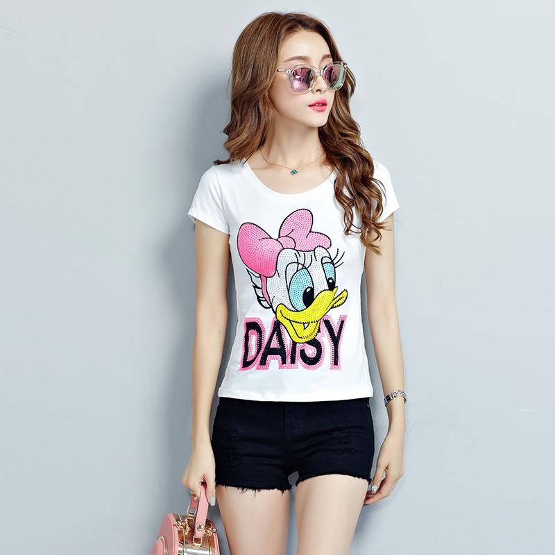 2017 Summer Casual T-shirt Women Cotton Short Sleeve T Shirts Female Printing cartoon Diamond Donald Duck Tops Plus Size S-3XL(China (Mainland))