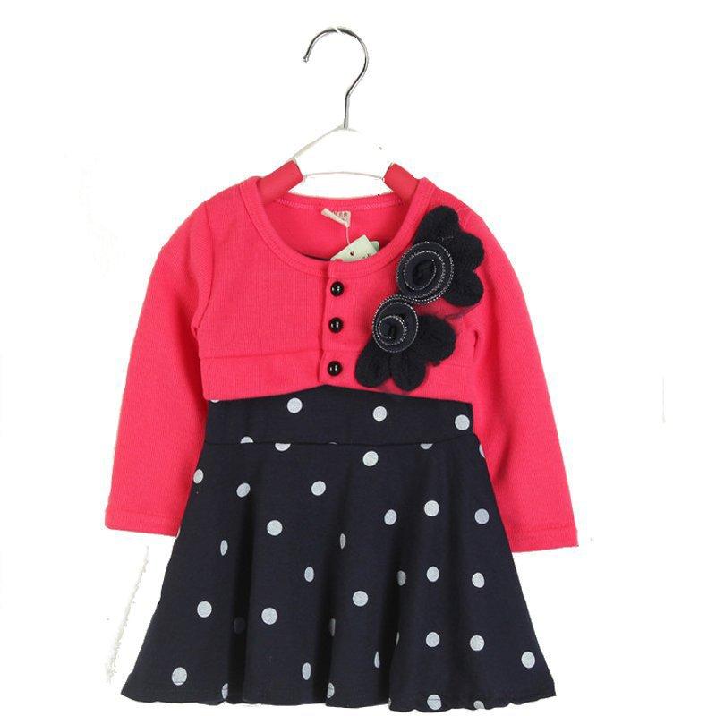 2015 New Autumn Spring Children Clothing Girls Polka Dot Dress Long Sleeve Kids Princess Dresses Flower Decorated Fit 18M-4Yrs(China (Mainland))