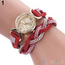 Two Tone Rhinestone Wrap Faux Suede Round Dial Quartz Bracelet WristWatches women 272O