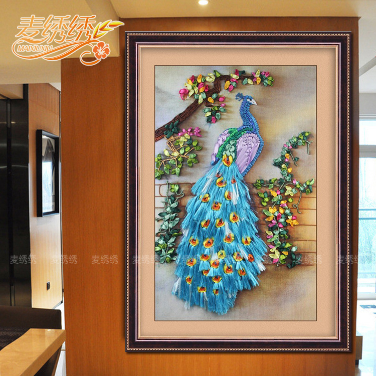 No frame Ribbon Embroidery Flower living room restaurant hanging drawing auspicious wealth peacock cross stitch printing(China (Mainland))