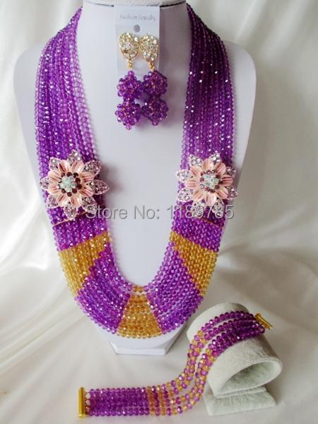 Fashion Nigerian African Wedding Beads Jewelry Set ,Crystal Necklace Bracelet Earrings Set A--5671<br><br>Aliexpress